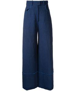 Martin Grant | Raw Edge Detail Trousers Womens Size 42 Linen/Flax
