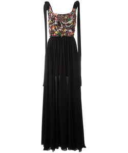 Elie Saab | Pleated Trim Dress Womens Size 38 Silk/Polyamide/Cotton/Silk