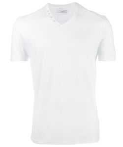 Paolo Pecora | Buttoned V-Neck T-Shirt Mens Size Large Cotton