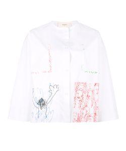 Ports   1961 Hand Drawing Print Shirt Womens Size 40 Cotton