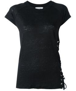 Iro | Lace Up Trim Top Womens Size Xs Linen/Flax