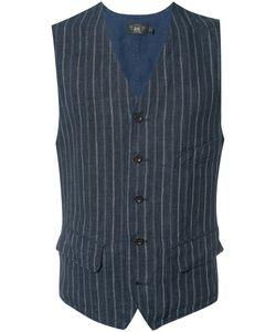 Rrl   Pinstripe Vest Mens Size Medium Linen/Flax
