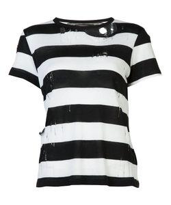 Amiri | Destroyed Striped T-Shirt Womens Size Xs Cotton/Cashmere