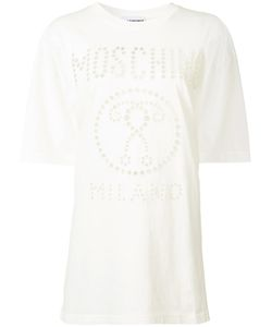 Moschino   Oversized Perforated Logo T-Shirt Womens Size Small Cotton