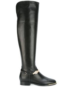Versace | Medusa Strap Riding Boots Womens Size 39 Calf Leather/Leather/Metal