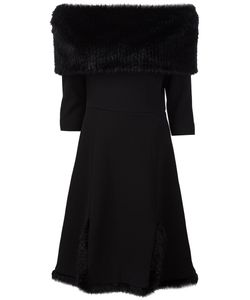 Christian Siriano | Fur Detail Off The Shoulder Dress