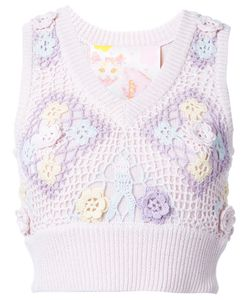 Mikio Sakabe | Floral Embroidered Sleeveless Knit Top