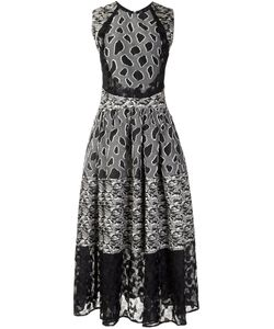 Sophie Theallet | Flared Mix Pattern Dress Womens Size 6 Silk/Cotton/Acrylic/Viscose