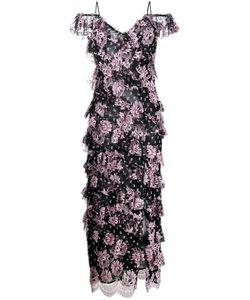 Alessandra Rich | Tiered Floral Print Dress Womens Size 42 Viscose/Nylon/Silk