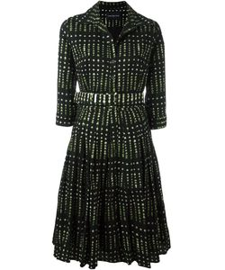 Samantha Sung | Leaves Print Flared Dress Womens Size 6 Wool/Silk