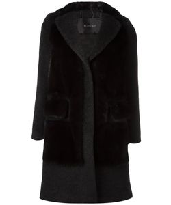 Blancha | Textured Panel Coat Womens Size 44 Mink Fur/Cupro/Mohair/Polyester