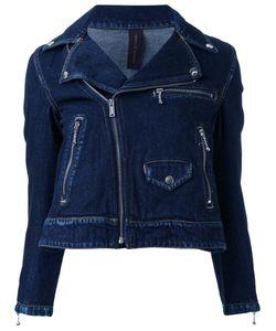 Mihara Yasuhiro   Miharayasuhiro Denim Biker Jacket Womens Size 36 Cotton