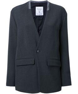 Fad Three | Flap Pocket Blazer Womens Size Medium Polyester/Polyurethane/Wool/Cupro