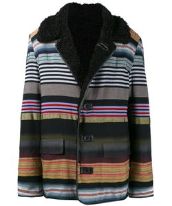 James Long | Striped Boxy Coat Mens Size Medium Acrylic/Cotton/Viscose/Polyester