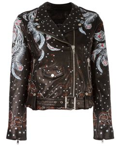 Htc Hollywood Trading Company | Feather Print Biker Jacket Womens Size Medium
