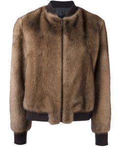 Blancha | Zip Up Bomber Jacket Womens Size 42 Mink Fur/Viscose/Wool/Spandex/Elastane