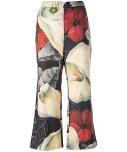 Ermanno Gallamini | Cropped Floral Print Trousers Womens Size Small Silk/Virgin Wool