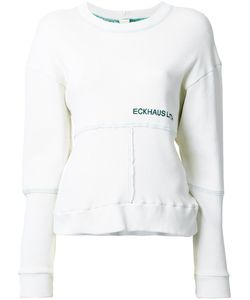 Eckhaus Latta | Front Logo Paneled Sweatshirt Womens Size Medium Cotton