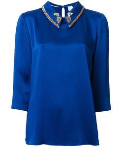 Ingie Paris   Embellished Collar Blouse Womens Size 44 Acetate/Viscose