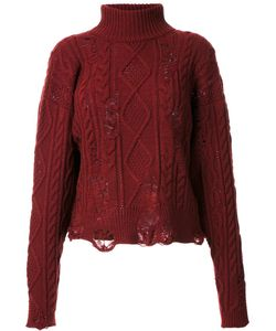 Mihara Yasuhiro   Miharayasuhiro Distressed Cable Knit Jumper Womens Size 38 Acrylic/Wool
