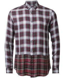 Hl Heddie Lovu | Layered Checked Shirt Mens Size Small Red Rayon/Lyocell/Wool