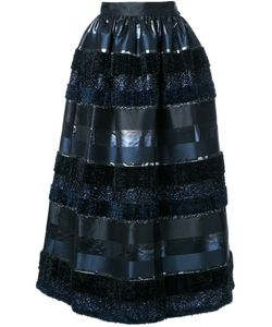 Ingie Paris   Textured Stripe Full Skirt Womens Size 42 Polyester