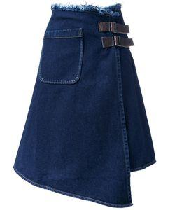 Mihara Yasuhiro   Miharayasuhiro Asymmetric Raw Denim Skirt Womens Size 40 Calf Leather/Cotton
