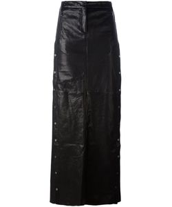 Ilaria Nistri | Studded A-Line Long Skirt Womens Size 42 Leather/Silk/Viscose/Pbt