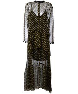 Petar Petrov | Sheer Polka Dot Dress Womens Size 36 Silk/Leather/Cupro