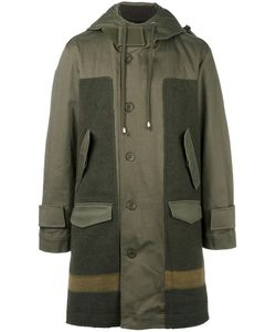 Cy Choi | Hooded Panelled Coat Mens Size 48 Cotton/Polyurethane/Wool/Wool
