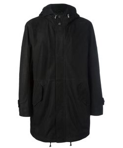 Desa Collection | Concealed Fastening Hooded Coat Mens Size 50 Leather/Sheep