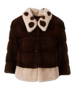 Blancha | Three-Quarters Sleeve Cropped Jacket Womens Size 42 Mink Fur/Chamois