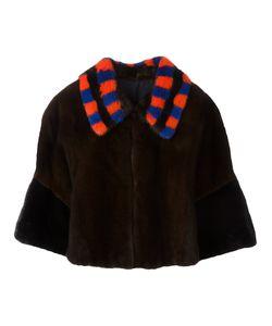Blancha | Three-Quarters Sleeve Cropped Jacket Womens Size 38 Mink Fur/Viscose