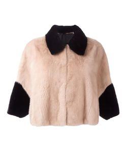Blancha | Colour Block Cropped Jacket Womens Size 40 Viscose/Mink Fur