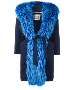 Ava Adore | Trimmed Belted Coat Womens Size 42 Cotton/Spandex/Elastane/Wool/Raccoon Dog