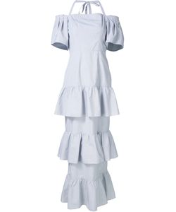 Audra   Triple Peplum Long Dress