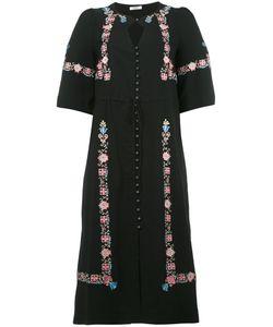 Vilshenko | Embroidery Midi Dress Womens Size 10 Silk/Viscose/Acetate/Spandex/Elastane