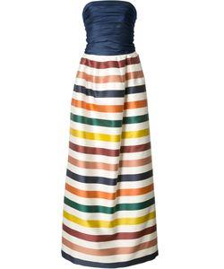Carolina Herrera   Striped Bustier Gown Womens Size 2 Silk/Cotton