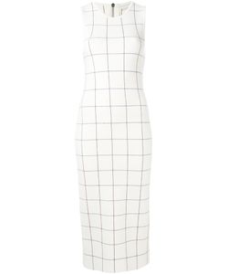 Victoria Beckham | Checked Sleeveless Dress Womens Size 8 Wool/Polyamide/Spandex/Elastane
