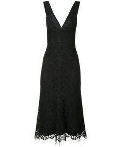 Victoria Beckham | V-Neck Lace Dress Womens Size 12 Cotton/Polyamide/Silk/Wool