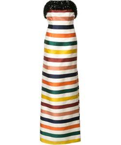 Carolina Herrera   Striped Strapless Gown Womens Size 4 Silk/Cotton