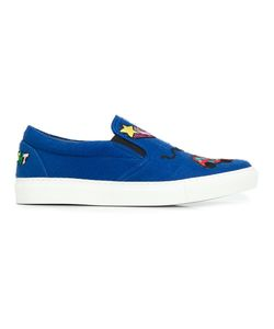 Mira Mikati | Patches Slip-On Sneakers Womens Size 38 Leather/Wool/Rubber