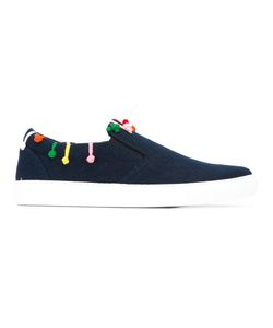 Mira Mikati | Embroidered Detailing Slip-On Sneakers Womens Size 37 Leather/Wool/Rubber