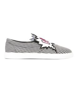 Mira Mikati | Checked Slip-On Sneakers Womens Size 38 Cotton/Leather/Rubber