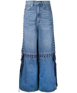 G.V.G.V. | Lace-Up Wide Leg Jeans Womens Size 36 Cotton