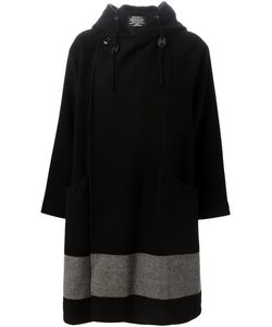 Zucca | Hooded Double Breasted Coat Womens Size Medium Cotton/Nylon/Cupro/Wool