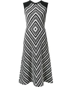 Martin Grant | Geometric Pattern Flared Dress Womens Size 40 Cotton/Polyamide/Polyester/Spandex/Elastane
