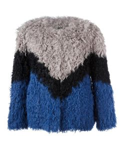 Ravn | Tricolour Short Jacket Womens Size 36 Lamb Fur