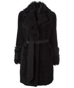 Blancha | Belted Mid Coat Womens Size 42 Lamb Skin/Sheep Skin/Shearling/Merino