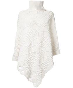 Mihara Yasuhiro   Miharayasuhiro Distressed Poncho Womens Size 36 Acrylic/Wool